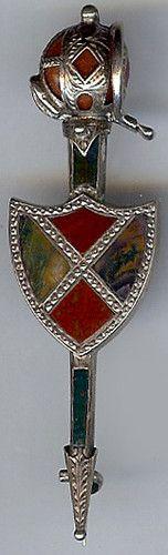 Antique Victorian Sterling Silver Scottish Red Gold Agate Shield Kilt Pin | eBay