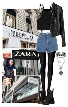 """""""Casual. Shopping with arzalyea. Chokers and crop tops. Dr martens and dark clothes. Tights and leather jackets. Shorts and necklaces."""" by avintagemystery ❤ liked on Polyvore featuring Witchery, Topshop, Dr. Martens, Eberjey, Boohoo, ASOS, Charlotte Russe, Pyrrha and Tiffany & Co."""