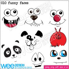 Funny cute animal faces digital clipart graphics - png jpeg & eps (personal or commercial use)