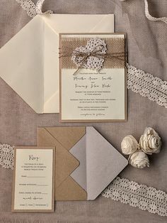 Rustic Wedding Invitation Burlap Wedding- BUT smaller burlap wrap. No flowers. Skeleton leaf instead?
