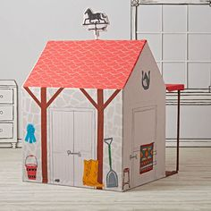 A horse is a horse, of course. But a horse stable playhouse is something entirely different. Designed just for us by Danielle Croft, it's adorned with tons of playful details, Indoor Playhouse, Old Crates, Land Of Nod, Party Places, Horse Stables, Baby Store, Kid Spaces, Kids Gifts, Play Houses