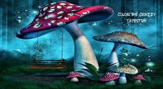 Fantasy Mushrooms With Fairy Swing In Forest Photography Backdrop Forest Drawing, Forest Painting, Mushroom Drawing, Mushroom Art, Mushroom House, Fantasy Forest, Forest Art, Magic Forest, Blue Forest