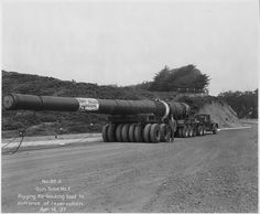 Gun Tube for Fort Funston, California. The barrels for the guns were manufactured for mounting on the 35,000 ton battle cruiser U.S.S. Saratoga whose construction was stopped by the Treaty of Washington. Picture taken 14 April 1937.