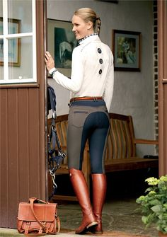 navy and brown breeches with cognac boots and belt~ I really want this look. Horse Riding Clothes, Riding Gear, Riding Boots, Equestrian Chic, Equestrian Outfits, Equestrian Fashion, Jodhpur, Horseback Riding Outfits, Preppy Style