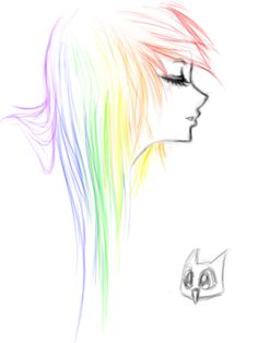 Drawing ideas step by step anime sketch rainbow emo by ai lilith deviantart com on deviantart Manga Drawing, Drawing Sketches, Drawing Hair, Woman Drawing, Sketch Art, Drawing Ideas, Sketching, Beautiful Drawings, Cute Drawings