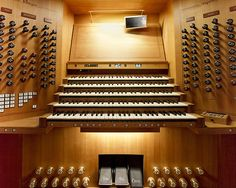 The console of China's largest pipe organ built by Rieger Orgelbau of Austria, in the Oriental Arts Centre of ShanghaI. It is five-manuals and pedals, with three enclosed divisions. It was built in 2005.