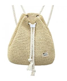 Campus Fashion Straw Shoulder Bag Beach Backpack Purse - Beige -  C912I6OI4H9 327ec2c6a4282