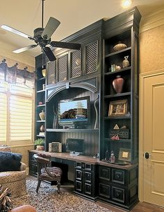 Custom built in desk and bookcases. Love this!!!