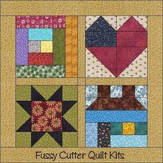 Scrappy Sampler Heart Salt Box House Log Cabin Sawtooth Star Easy Quilt Blocks Wall Hanging