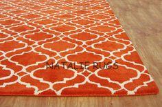 Brand New Carmen Scroll Orange 5x8 8x5 Handmade Woolen Area Rug Carpet   eBay