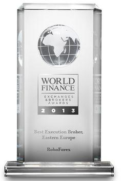"""A empresa internacional RoboForex ganhou o prestigioso prêmio anual """"Exchanges & Brokers Awards 2013"""" vencendo na categoria """"Best Execution Broker, Eastern Europe"""".  O prêmio, organizado pela revista financeira britânica de renome mundial World Finance, é concedido há mais de cinco anos as principais empresas de corretagem do mundo."""