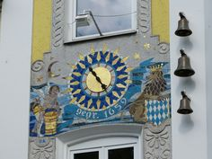 Great mosaic clock in Traunstein, Bavaria, Germany.