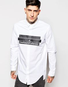 Image 1 of Cheap Monday Shirt Odd Awkward Silence Print