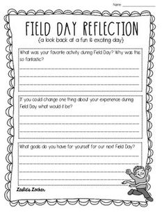 Just a simple freebie for your students to reflect and work on after a fun field day! Enjoy & Happy Teaching!