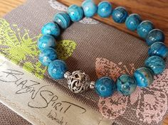 Stacking Bracelet Semi-precious Sky Blue Crazy by BlazonSpirit Stretch Bracelets, Beaded Bracelets, Crazy Lace Agate, Turquoise Bracelet, Spirit, Sky, Boho, Beads, Creative