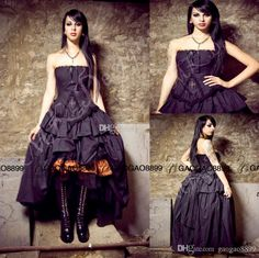 Victorian Dresses 2016 Steampunk Wedding Dress Gothic Lolita Inspired Vampire In Black Custom Wedding Gowns Beading Bridal Gowns Top Of The Line Wedding Dresses Vintage Lace A Line Wedding Dresses From Gaogao8899, $131.66| Dhgate.Com