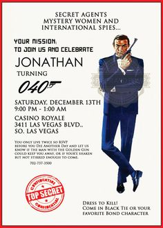 James Bond 007 Birthday Bachelor Casino Poker Top Secret Agent Mission Party Invitation