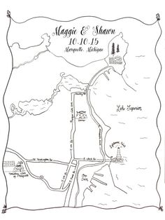 Custom Wedding Map Printable DIY Map of Wedding by LaceAndBeau
