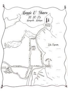 Custom Wedding Map Printable DIY Map of Wedding by LaceAndBeau