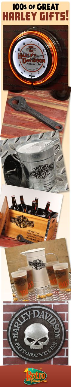 Officially licensed Harley-Davidson Gifts for Harley lovers. From colorful Harley-Davidson neon clocks to classic bar gift sets to make gift giving easy.