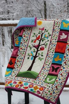 """Flannel """"Tree of Life"""" baby quilt."""