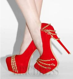 Gorgeous Sweet Girl Platform High Heel Shoes with Metal Chain Decoration 6