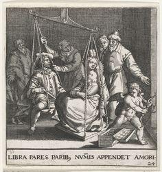 Johann Theodor de Bry | Huwelijksweegschaal, Johann Theodor de Bry, Pieter de Jode, 1596 | De 'huwelijksbalans'. Een heer en een dame ziitten op een weegschaal die duidelijk doorslaat naar de kant van de vrouw. De liefde van de man mag dan groot zijn, zijn beurs (die voor hem ligt) is het niet en hij wordt dan ook door de ouders van het meisje, die ernaast staan te kijken, te licht bevonden. Rechts een Amor met pijl en boog bij een open geldkist. Embleem nr. 24 in Emblemata Saecularia, 1596…