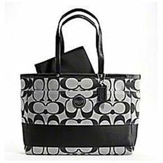 COACH SIGNATURE STRIPE BABY DIAPER MULTIFUNFUNCTION LAPTOP BAG PURSE TOTE 15188 BLACK WHITE  15 1/2 W x 11 1/2 H x 6 1/2 D. Two leather strap: approx 10 1/2 drop. Zip top closure with leather pull. Two large  Check out this product http://wkup.co/cash_back/NDI1MDA0ODY0/MTA0MTUwOQ==