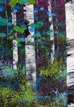 Autumn aspen birch tree painting, colourful paintings, colourful art