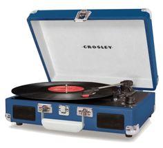 Koffer Platenspeler donker Blauw - Retronics, voor al uw Retro producten!