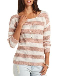Marled Striped Tunic Sweater: Charlotte Russe