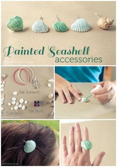 A fun summer craft to do with kids, paint seashells from your last mermaid adventure with nail polish and make hair accessories. Ideas for seashell crafts, crafts to do with kids. Get your real swim-able mermaid tail at FinFunMermaid.com