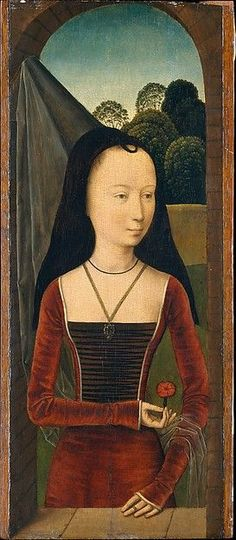 Attributed to Hans Memling, (Netherlandish, Seligenstadt, active by 1465–died 1494 Bruges). Young Woman with a Pink, ca. 1485-90. The Metropolitan Museum of Art, New York. The Jules Bache Collection, 1949 (49.7.23)