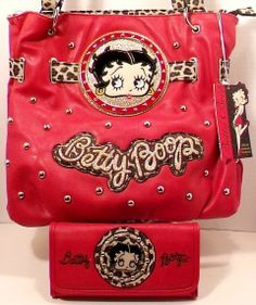 A little something in RED for the Boopsters>> Betty Boop Purse Shoulder Handbag Red & Matching Wallet with Rhinestones & Studs #LicensedBettyBoop #ShoulderBag #Wallet #Boopsters