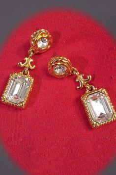 Liz Claiborne Gold and Rhinestone Drop Dangle Post Earrings. Gorgeous. #LizClaiborne #DropDangle