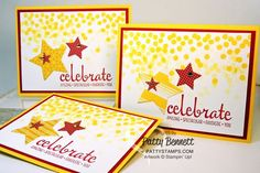 Dotty Angles stamp set looks like falling confetti!  Congrats card features Star Framelits and Celebrate stamp from the Fabulous Four set from Stampin Up.  Convention 2014 swap card by Patty Bennett