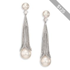 Adriana Orsini Decadence Faux Pearl & Pave Crystal Long Drop Earrings