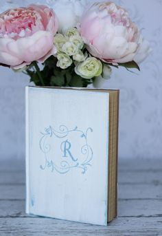 Wedding Guest Book Hand Stamped Shabby Chic Decor (item S10463). $32.50, via Etsy.