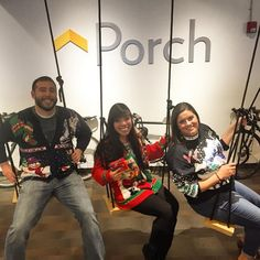 The favorite hangout spot at Porch HQ! And let's not forget to mention those fantastic sweaters  #porchinit #uglychristmassweaters