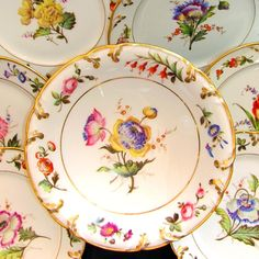 Gorgeous antique French porcelain dessert set by Pillivuyt, circa Comprising of six plates and a pedestal footed compote/centerpiece. Richly decorated with hand painted flowers, in a wealth of Fine China Patterns, Antique Dishes, Antique Plates, Dessert Aux Fruits, China Painting, Porcelain Ceramics, Earthenware, French Antiques, Painted Flowers