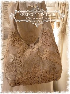 Vintage Tattered Lace Tote Bag #2 - Totes - A Gathering Place