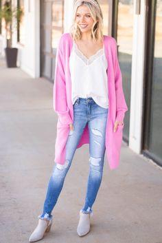Teen Fashion Outfits, Short Outfits, Cool Outfits, Light Pink Cardigan, Long Cardigan, Korean Fashion Dress, Pink Bubbles, Cardigan Outfits, Cardigans For Women