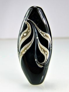 Black Ivory Silver Lampwork Focal Bead by skyvalleybeads