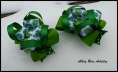 St. Patrick's Themed Hairbow - Available through Etsy.