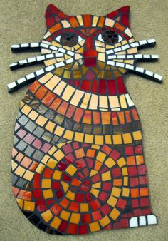Cheerful Sitting Cat with Whiskers Stained Glass Mosaic