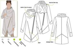 Fashion forward stylised coat sewing pattern for women. Instant PDF pattern for sizes 4, 6 and 8. Plus sizes available too! See size chart in the
