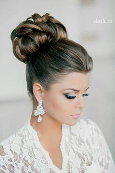 Elegant Wedding Hairstyles Part II: Bridal Updos elegant top knot bun bridal updo wedding hairstyle Side Bun Hairstyles, Best Wedding Hairstyles, Bride Hairstyles, Pretty Hairstyles, Hairstyle Ideas, Glamorous Hairstyles, Natural Hairstyles, Bridesmaids Hairstyles, Classy Updo Hairstyles