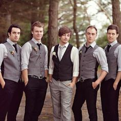 switch the colors so the groom is all grey and the groomsmen are all black!
