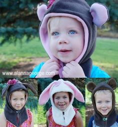 Adorable pattern for sewing your own fleece animal hat. Assorted styles.