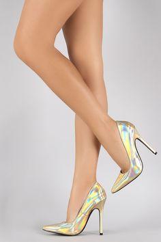 Hologram Pointy Toe Single Sole Stiletto Pump | UrbanOG #stilettoheelsdress #stilettoheelspumps